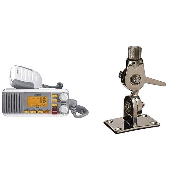 Uniden UM385 25 Watt Fixed Mount Marine VHF Radio, Waterproof IPX4 with Triple Watch, Dsc, Emergency/NOAA Weather Alert, White & Shakespeare 4187 SS Ratchet Mount (Color: UM385)