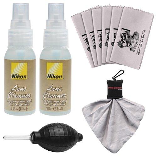 Nikon Lens Cleaner Fluid Spray Bottles + Blower + 6 Microfi