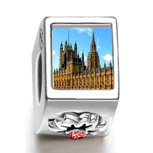 Burning Love London The British Houses Of Parliament And Big Ben January Birthstone Photo Flower European Charm Bead