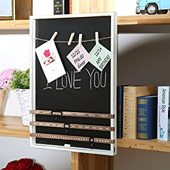 ... Wall Mounted Wood Frame Chalkboard W/ Vintage Wood Sliding Calendar U0026  Clip Photo Holder W