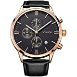 SONGDU Date Unisex Black Multifunction Chronograph Mens Watches Stopwatch Rose Gold With Leather Strap