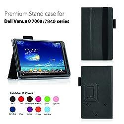 Elsse Premium Folio Case for Dell Venue 8 7000/7840 Series 8.4 Inch Android Tablet (2015 Version) (Black)