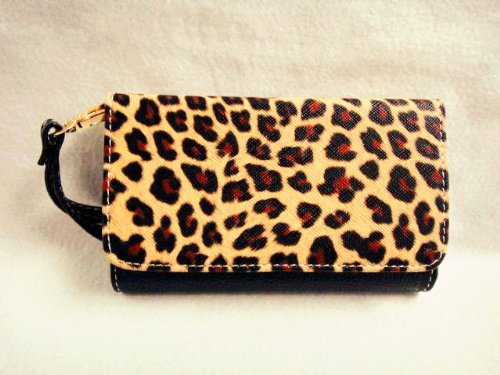 NEW Leopard Skin Leather Wallet Purse Flip Smart-Phone Wristlet Clutch Leather Wallet Case Cover for Samsung Mobile Cell Phone 1 Samsung Galaxy S Blaze 4G SGH-T769 T-Mobile - black