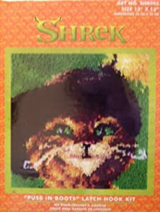 Shrek Puss in Boots Latch Hook Kit Caron 13x13