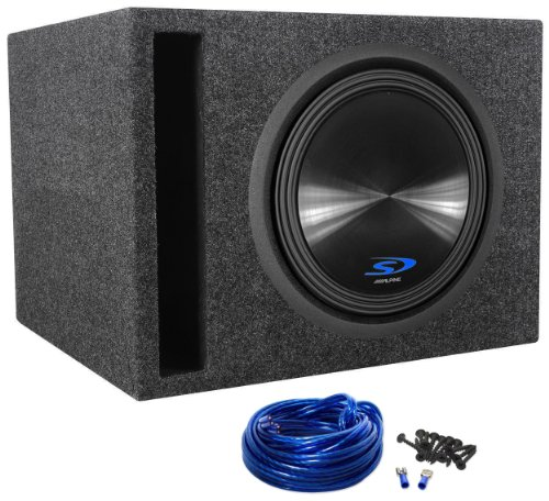 "Package: Alpine Type-S Sws-12D2 12"" 1500 Watt Dual 2-Ohm Car Subwoofer + Rockville Rsv12 Single 12"" Vented Subwoofer Enclosure + Sub Box Wire Kit With 14 Gauge Speaker Wire + Screws + Spade Terminals"