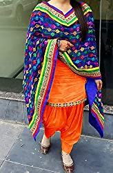 New Orange cotton patiyala Dress materials
