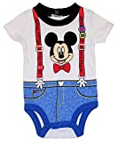Disney Mickey Mouse Faux Suspenders Baby Boys Dress Up Bodysuit Outfit
