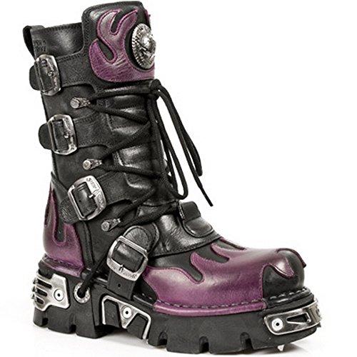 New Rock M.591 S3 pelle unisex gotico nero punk stivali roccia con Fiamma Viola 46