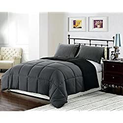 3 piece Luxury BLACK / GREY Reversible Goose Down Alternative Comforter set, Full / Queen Duvet Insert
