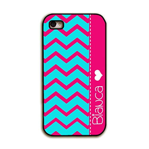 Monogram Personalized Iphone 4S Case - Hot Pink And Aqua Blue Chevron With Your Name - Monogram Iphone 4 Case, Fits All Carriers front-978520