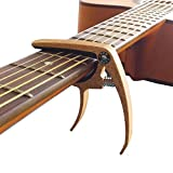 MUSE 6-String Wood Color Metal Guitar Capo for Acoustic Guitar, Electric Guitar, Ukulele (Maple Color))
