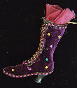 Purple Boot Ornament Mardi Gras Hanging Ornament New Orleans Muses
