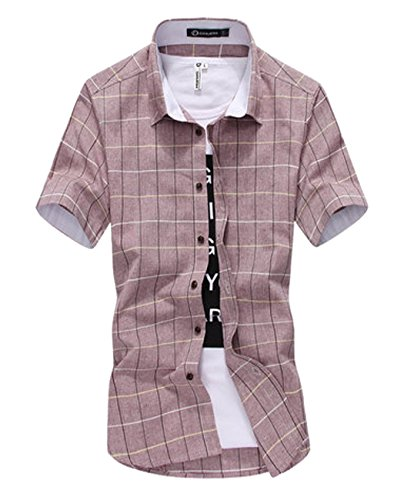 【PALERO・パレロ】 選べる5色 チェックシャツ シャツ メンズ トップス 半袖 チェック カラーシャツ カジュアルシャツ 春 夏 (L, レッドグレー)