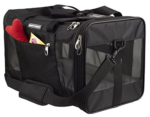 Caldwell's Pets Supply Co. Deluxe Soft-sided Airline Approved Airport Pet Carrier Travel Bag – Under Seat Carry-on for Cats and Small Dogs (Black) (Deluxe Top Loading, 17.9Lx12Wx11W)