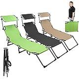 Linxor France ® Chaise longue pliable et réglable en aluminium + Pare soleil noir, beige ou vert / Norme CE