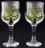 Pair of Wine Glasses in a Green Celtic Tree of Life Design. Handpainted and designed in the UK by Beverley Gallagher, these significant and expressive gifts are ideal for Christmas, Valentine's Day, Mother's Day, St Patrick's Day, Easter, Father's Day, b