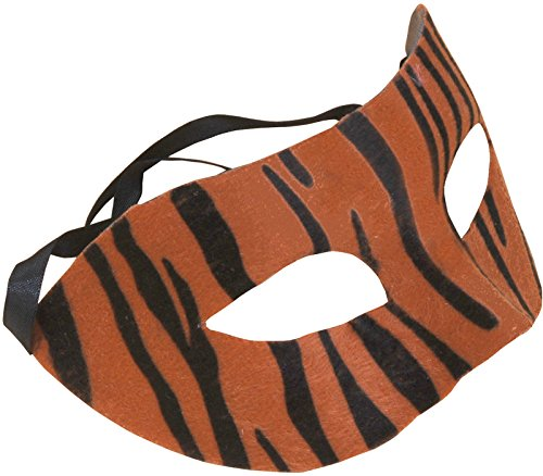 "Star Power Striped Tiger Half Mask, Orange Black, One-Size (6.5"" x 3.5"")"