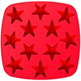 Star Ice Cube Tray Silicone, Make Ice Cubes for Whiskey or Fun Jello Shot Molds, Chocolate Candy Molds and Soap Molds, 12-cavity, Red, by Kitchen Haven