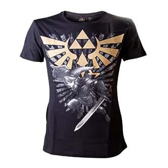Nintendo - Zelda Gold Logo Homme T-Shirt - Noir - Taille Small