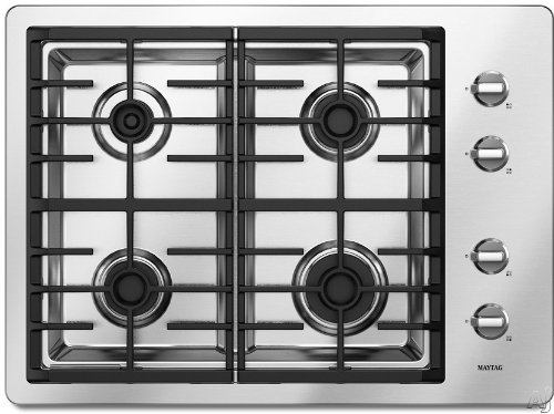 Maytag MGC7430WS 30 Gas Cooktop 4 Sealed Burners – Stainless Steel  ->  This four-burner cooktop features a Power Center w