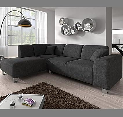 Muebles Bonitos - Sofá chaise longue modelo Galia Gris Izquierda