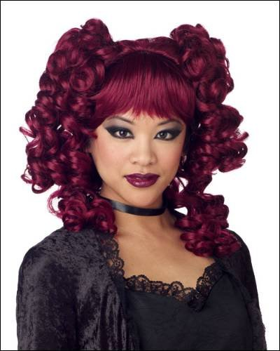 Goth Curls Burgundy Costume Wigs