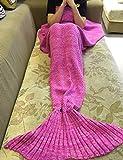 MOXXYU マーメイドテール毛布のかぎ針編みのパターン、女の子のための手作りの寝袋、暖かく柔らかい人魚ブランケット、クリスマスのギフトを編む (ピンク)