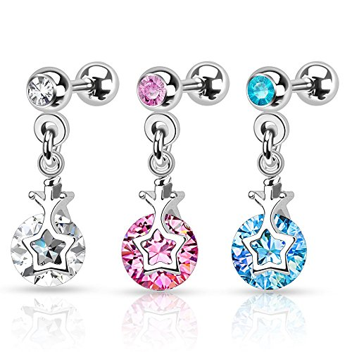 polished-star-with-cz-cartilage-freedom-fashion-316l-surgical-steel-cartilage-tragus-barbell-pink