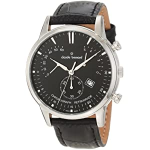 Claude Bernard Men's 01506 3 NIN Classic Black Dial Chronograph Leather Watch