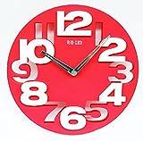 R-STYLE スタイリッシュラウンドデザイン 掛け時計 ウォール クロック 時計のお掃除に使えるマイクロファイバーハンドクリーナーモップ付きモデル (ピンク)