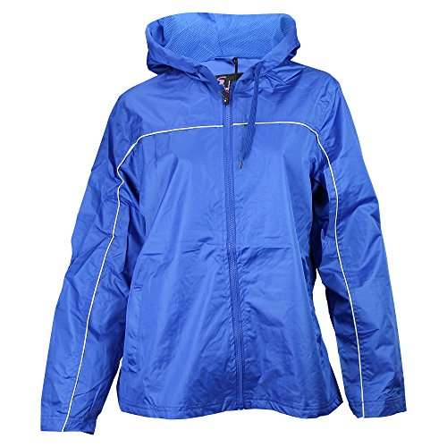 Ladies Single Piping Smart Jacket Windbreaker (Medium, Royal / White)