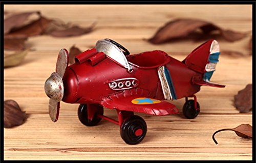 Berry President® Vintage / Retro Wrought Iron Metal Propeller Airplane Plane Aircraft Handicraft Models -The Best Choice for Photo Props/christmas Gift/home Decor/ornament/souvenir Study Room Desktop Decoration (Red)