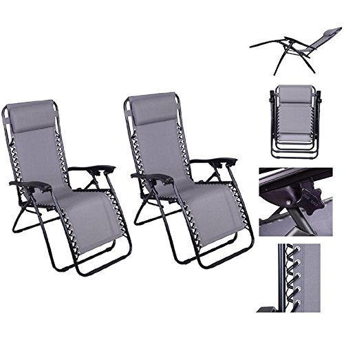 Sunny Patio Outdoor Patio Lounge Chair - Grey Pair