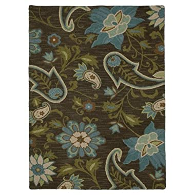 "Product Image Home Azul Floral Wool Rug - Blue/Brown (25x84"")"