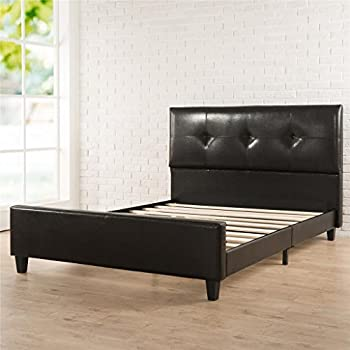 Zinus Tufted Faux Leather Upholstered Platform Bed with Footboard and Wooden Slats, King, Espresso