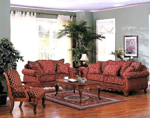 Buy Low Price ACME 3pcs Georgian Floral Chenille Fabric Sofa, Loveseat & Chair Set (VF_LIVSET-AM5615)