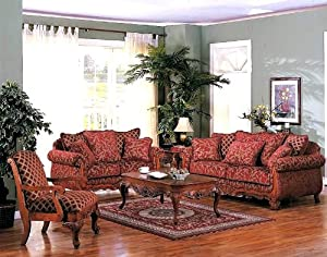 3pcs Georgian Floral Chenille Fabric Sofa, Loveseat & Chair Set