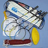 Badminton / Volleyball Combo Set, Net, Poles, Four Racquets and Volley Ball