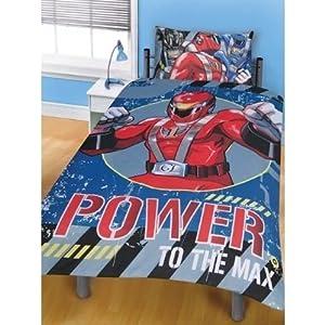 childrens kids boys power rangers reversible quilt duvet bedding set