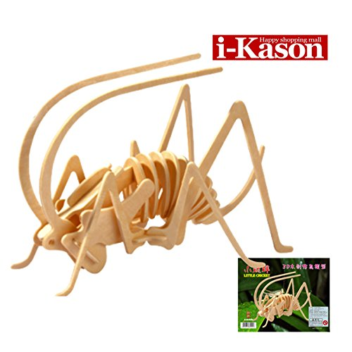 Authentic High Quality i-Kason® New Favorable Imaginative DIY 3D Simulation Model Wooden Puzzle Kit for Children and Adults Artistic Wooden Toys for Children - Cricket - 1
