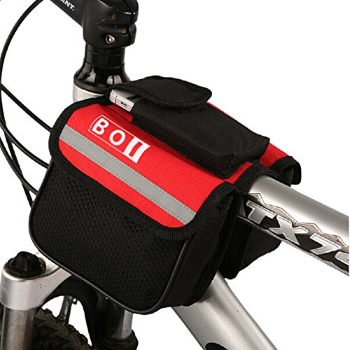 ROSWHEEL BOI Black 2L 600D Multifunctional Mountain Bike Bicycle Cycling Frame Pannier Pack Front Tube Bag Bags (Red)