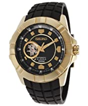 Seiko Premier Automatic Black Dial Gold-Tone Stainless Steel Mens Watch SSA076