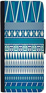 Snoogg Aztec Pattern Triangular Graphic Snap On Hard Back Leather + Pc Flip C...