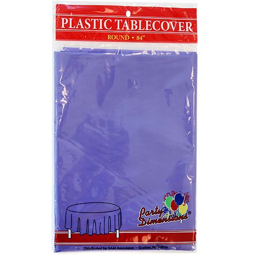 Party Dimensions Single Count Round Plastic Tablecover, 84-Inch, Purple