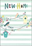 """Gold New Home Greetings Card - Bright Birds, Bird Houses & Flowers 7.5"""" x 5.25"""""""