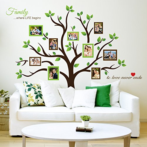 Timber Artbox Large Family Tree Photo Frames Wall Decal - The Sweetest Highlight of Your Home and Family (Picture Tree For Wall compare prices)