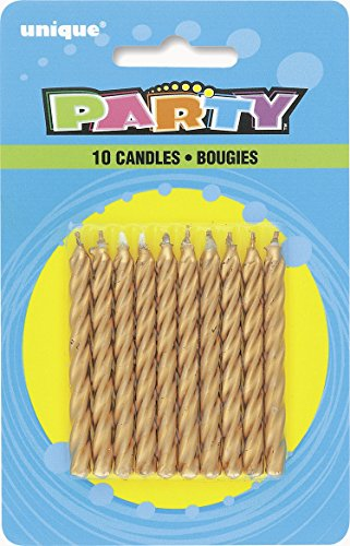 Gold Spiral Candles 10 Pack - 1