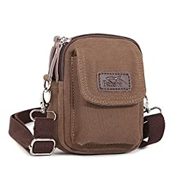 BAOSHA YB-02 Multi Purpose Vintage Small Canvas Messenger Cross Body Bag Pack Organizer Shoulder Bag can be used as Security Money Waist Bags Pouch Coffee