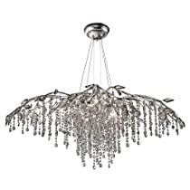 Hot Sale Golden Lighting 9903-12 MSI Chandelier with Electroplated Smoke Leaded Crystal Shades, Mystic Silver Finish