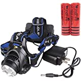 WindFire 1800 Lumens CREE XM-L T6 U2 LED Waterproof 3 Modes Design Headlamp CREE LED Headlight 18650 Rechargeable Battery Head LED Torch Flashlight with Charger Portable LED Headlamp for For Outdoor Hiking, Riding, Camping and Other Activites( with batteries)
